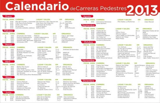 Calendario de carreras pedestres 2013 en Mexicali